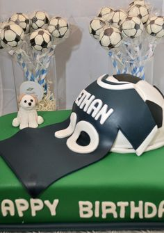 soccer theme cake pops and cake with edible dog, ball and jersey made of fondant