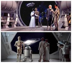TESB: The top image shows how Ralph McQuarrie envisioned the dramatic final scene in TESB. The screenshot below shows how the scene finally played out in the movie itself.