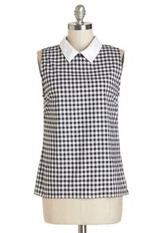 Beach Home Office Top by Motel - Black/White, Sleeveless, Mid-length, Cotton, Woven, Black, White, Checkered / Gingham, Peter Pan Collar, Rockabilly, Pinup, Vintage Inspired, 50s, Darling, Sleeveless, Collared, International Designer