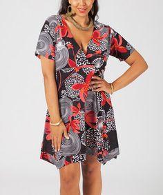 Loving this Black & Coral Floral Handkerchief-Hem Surplice Dress - Plus on #zulily! #zulilyfinds