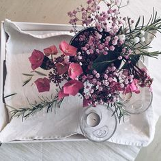 Rosemary  one of the last hydrangeas and a sprig of pink gyp make for a pretty filled vase #blooms #pink#momentsofmine#onthetable #nothingisordinary#allinthedetails #simplicity#pursuepretty #rosemary#hydrangea #favourite #instapic#instadaily#naturesbounty #naturesbeauty #flowers#capture#snapshot