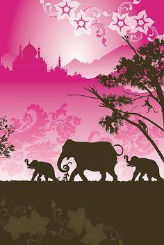 'Indian elephants' Photographic Print by Lara Allport Wild Elephant, Indian Elephant, Elephant Art, Elephant Tattoos, Taj Mahal, African Artwork, Elephant Illustration, 5th Grade Art, Psychedelic Art