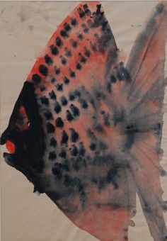 Lubomír Blecha, 1953-54, study of fish, gouache on paper, M: 29,0 x 19,0 cm, student work on UMPRUM (Academie of applied Arts) Prague, Czechoslovakia