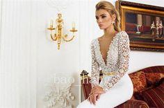 2014 New Popular Sexy V-Neck Long Sleeves Slim Line Bridal Wedding Dress Gown