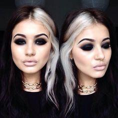 <img> Makeup today to suit my mood 💀. Using Illamasqua gel liner as a smokey eye base. Toni Jeans, Blonde Streaks, Hair Color Streaks, Goth Hair, Eye Base, Rides Front, Black And Blonde, Dark Hair, White Streak In Hair