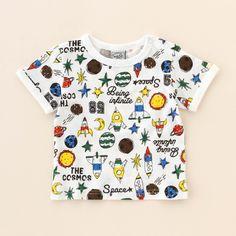 【ベビー服】ボーイズロケット総柄Tシャツ