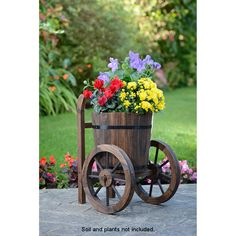 Wooden Two Wheel Barrel Planter - Mundo Da Decoração Wooden Planters, Outdoor Planters, Flower Planters, Flower Pots, Wheel Barrel Planter, Garden Art, Garden Design, Wooden Cart, Flower Cart
