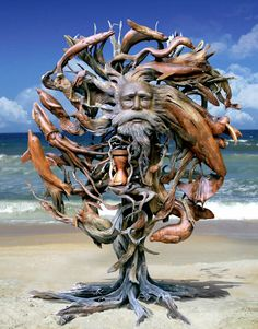 Driftwood Statue with face carving – Schnitzerei Sculpture Metal, Driftwood Sculpture, Driftwood Art, Lion Sculpture, Wooden Sculptures, Abstract Sculpture, Trucage Photo, Art Beauté, Good Vibe