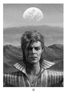 I think it's ironic that they discover a new planet the same year David Bowie dies. David Bowie by DrewBeamArt on Etsy Angela Bowie, David Bowie Art, David Bowie Ziggy, David Jones, Rock And Roll, Bowie Ziggy Stardust, New York City, Aladdin Sane, Goblin King
