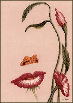 Stitching Studio Mouth of the Flower - Cross Stitch Pattern. Model stitched on 32 count Lavender Mist Belfast Linen with DMC floss. The stitch count is 184W x 2