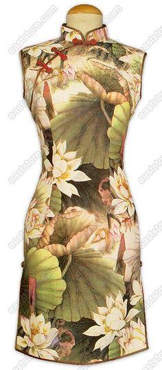 Chinese Water Lily Printed Silk Cheongsam : EastStore.com
