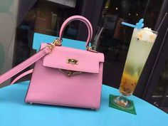 Free Shipping!2016 Hermes Outlet With Free Shipping-Hermes Mini Kelly 20CM in Pink Epsom Leather Gold