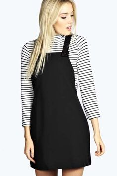 Leandra Woven Pinafore Dress at boohoo.com