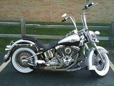 Custom bike with ape hangers and white-walls. Nice