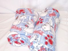 """2 Coca Cola hand made fleece blankets $20 measures approx: 62.5"""" x 52.5"""" & 59.5"""" x 53.5"""" Never used"""