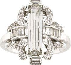 58132: Art Deco Diamond, Platinum Ring
