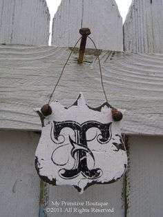 MONOGRAM ORNAMENT Letter T Monogram Shield by MyPrimitiveBoutique, $14.00