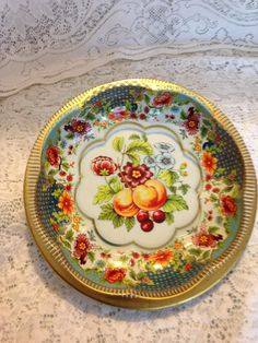 """Daher Decorated Ware Tray Made In England Awesome 20"""" Oval Daher Decorated Ware Tin Tray Made In England Fruit Review"""