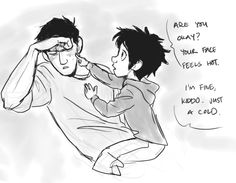 Sick Tadashi and Baby Hiro! <3 AWESOME AWESOME AWESOME Art credit to uponagraydawn.tumblr.com If you want more baby Hiro and all, go to that website! This artist is AWESOME.