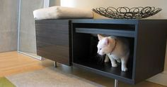 Furniture to hide ugly cat litter boxes - a necessity in a small apartment!