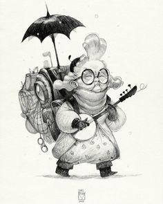 And again  019  #sketchtober  #penciltober #challenge #sketch  #character_design #old #granny #bladmoran  да кстати продолжу тут кое че.  Итак перерисовала одну старушку на бумаге:З Я хотела ее более менее законченную а не тот корявый набросок что на компе был) by bladmoran