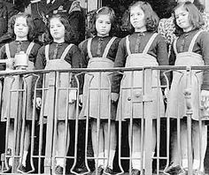The Dionne Quintuplets at a whistle stop.  Just because there were 5 of them they were treated as circus freaks all their lives.