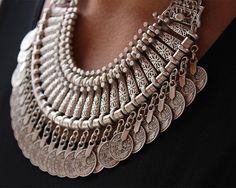 Gypsy coin necklace - Chunky tribal style silver necklace makes a great layering piece. Tribal, gypsy, boho styling in a piece that pairs Tribal Necklace, Coin Necklace, Drop Necklace, Tribal Jewelry, Indian Jewelry, Silver Jewelry, Style Tribal, Ethno Style, Jewelry Gifts