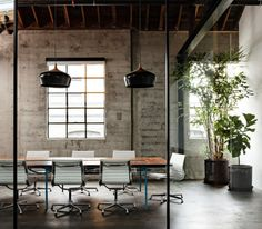 A beautiful office conference space design furnished with Eames Aluminum Group Chairs by Herman Miller. A beautiful office conference space design furnished with Eames Aluminum Group Chairs by Herman Miller. Office Space Design, Modern Office Design, Office Interior Design, Office Interiors, Office Designs, Interior Decorating, Design Offices, Modern Offices, Workplace Design