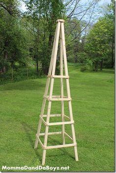 DIY trellis wooden trellis obelisk trellis - All About Gardens Hops Trellis, Obelisk Trellis, Diy Trellis, Trellis Ideas, Cheap Pergola, Diy Pergola, Pergola Plans, Pergola Kits, Pergola Ideas