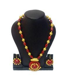 #Terracotta Necklace Set #craftshopsindia #onlinenecklace