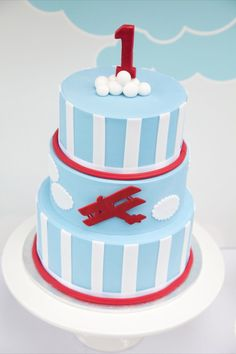 Vintage Airplanes Vintage Airplane First Birthday Party - This adorable Vintage Airplane First Birthday Party is such a sweet theme for a little guy turning Get ideas for the cake, desserts, decor, and more. Airplane Birthday Cakes, First Birthday Cakes, First Birthday Parties, First Birthdays, Airplane Cakes, Birthday Ideas, Vintage Airplane Party, Vintage Airplanes, Planes Cake