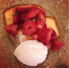 Leah McLean serves up our Cake Toast with macerated strawberries and vanilla ice cream