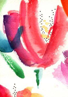 "AcEo Original Watercolor Ink Dot Tulip Trio II 2.5"" x 3.5"" Studio B3Art #Abstract"