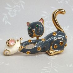 Vintage Articulated Cat and Mouse Brooch pin circa 1970s or earlier
