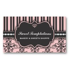 23 best pastry chef business cards images on pinterest bakery elegant pink damask stripe bakery business card colourmoves