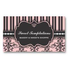 Elegant Pink Damask  Stripe Bakery Business Card