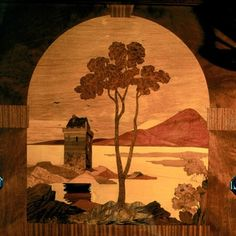 From a carriage on the Orient Express . Wood-inlay