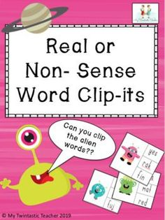 """These fantastic clip-it cards are a great activity for increasing fluency and confidence with reading. Pupils have to blend the sounds to read the CVC words and identify the 'Non-Sense' or """"Alien"""" word on each card and clip it. Pack includes 18 cards which children can work on independently or wit... Fluency Activities, Sorting Activities, Sight Word Practice, Sight Word Games, Nonsense Words, Cvc Words, Alien Words, Addition And Subtraction, Word Work"""