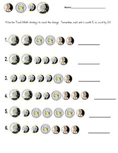 """Counting Coins:  This worksheet is designed for students to count coins using the """"touch math"""" strategy.  Each dot counts as 5 cents."""