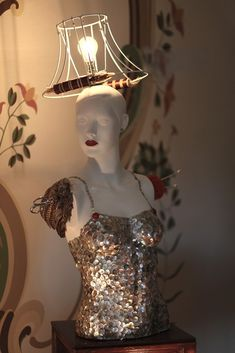 Used Mannequins turned into function art by London based artist Art Mannequin, Mannequin Display, Dress Form Mannequin, Mosaic Crafts, Light Art, Visual Merchandising, Transformers, Vintage, Sculptures