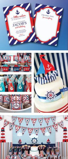 Nautical Birthday Party Set, Sofia the first, Ocean Theme, Navy and Red, Invitation, Thank you Card, Cupcake toppers, Birthday banner, Labels, Wraps, Centerpieces, and much More!