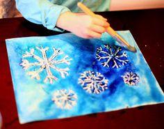 Winter Watercolor Resist Art with Free Printable Snowflake Template