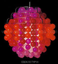 Hanging lamp in red Typ H, Manufacturer: J. Lüber, CH