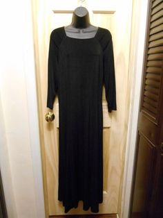 Coldwater Creek Size Medium Travel Black Stretchy Long Maxi Dress USA Made #ColdwaterCreek #Maxi #WeartoWork
