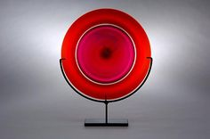 Rondel: Ruby by Casey Hyland: Art Glass Sculpture available at www.artfulhome.com