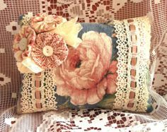 Shabby Chic Scented Sachet Pillows Vintage Rose