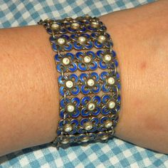 Vintage Willy Winnaess Design David Andersen Sterling Enamel Bracelet Blue Wide
