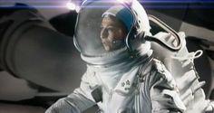 Sylvia Rudufo (Alejandra Flecher) on a Spacewalk outside her craft in the 2004 Argentine movie Adios, Querida Luna