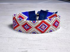Loom Bead Bracelet Red White Blue Loom by BeadWorkBySmileyKit