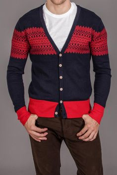 Red / navy cardigan